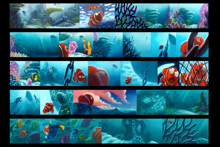 Finding Nemo - Storyboard Color Key - Pastels - Pixar.