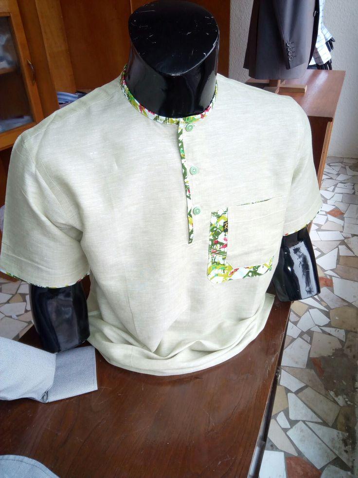 Chemise col rond lin mélange avec du tissu woodin