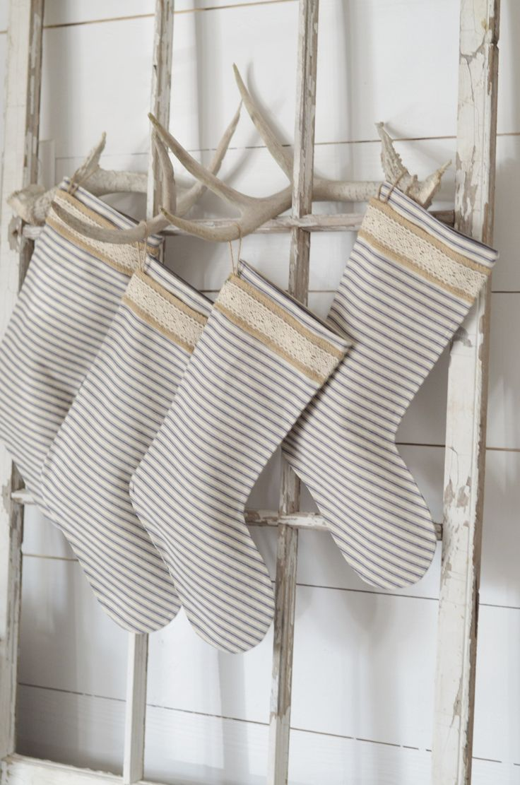 Christmas Stockings. No mantel? Come see unique ways to display your stockings for the season. Stockings on ladder. Farmhouse Christmas Simple Rustic