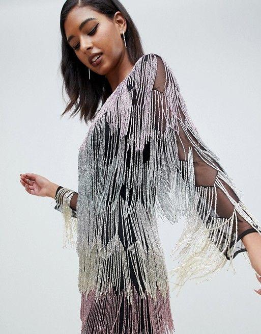 bc8ec312 ASOS DESIGN | ASOS DESIGN mini dress in allover fringe embellishment