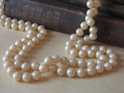 Long Strand Pearls Faux Pearl Necklace 60 by MaidenLaneBoutique