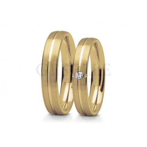 Elegancki komplet obrączek ślubnych - klasyczne, żółte złoto pr. 585, delikatna linia i lśniąca cyrkonia lub brylant - Obrączki ślubne - GESELLE Jubiler