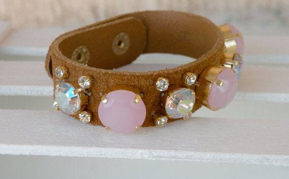 suede bracelet/ pink crystals