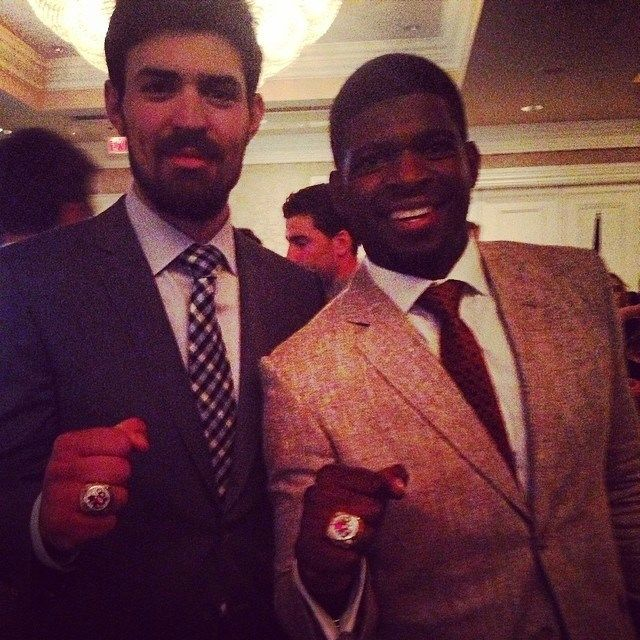 Carey Price & PK Subban with their Olympic Champion Rings.