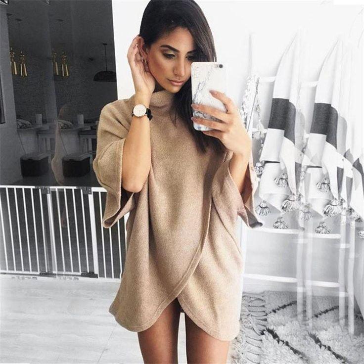 Irregular Turtleneck Knitting Sweater  #onlineshopping #girls #outfits #ohyoursfashion #fashion