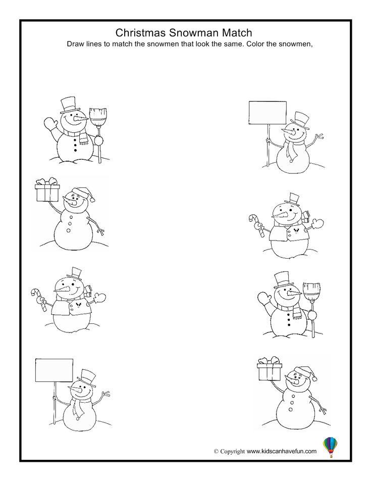 Christmas Snowman Match Worksheet