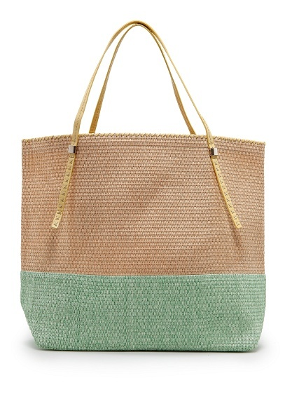 MANGO - TOUCH - Two-tone straw tote bag