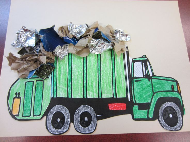 "Garbage Truck: We printed a picture of a garbage truck on card stock, colored and cut out the picture. We then mounted the picture on construction paper and glued ""trash"" on the truck."