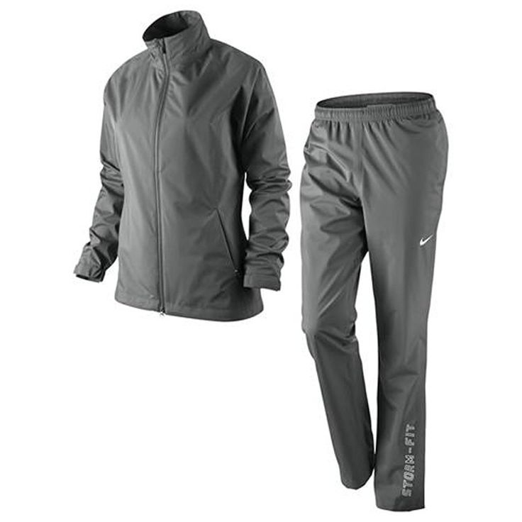 This dynamic 2-piece ladies storm fit packable golf rain suit by Nike includes a jacket and pair of trousers!