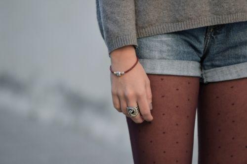 polka dot tights with jean shorts