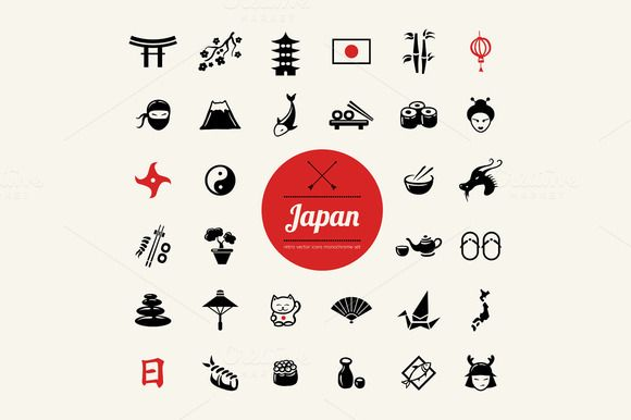 Set of Flat Design Japanese Icons by Decorwith.me Shop on Creative Market