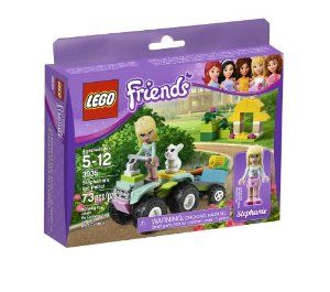 LEGO Friends Stephanie's Pet Patrol 3935 by LEGO. $17.95. Features bike trailer, outdoor scenery, bunny cage and carrot. Drive the bunny to the veterinarian, feed the bunny a carrot. Includes Stephanie mini-doll figure and bunny Daisy. Lego Friends pieces are fully compatible with all Lego System bricks. Collect all of the Lego Friends sets for a whole world of Lego Friends fun. Help Stephanie to patrol for pets on her cool quad bike! Stephanie has her cool quad bike warmed up...