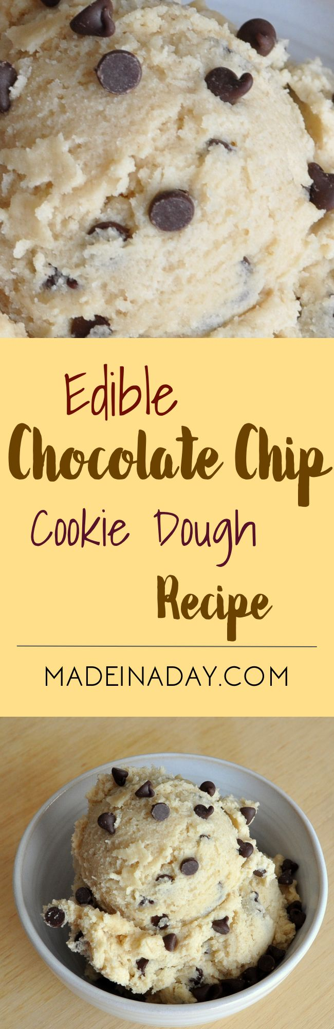 Edible Egg-less Cookie Dough Recipe, make a safer version of grocery store cookie dough that you can actually eat!