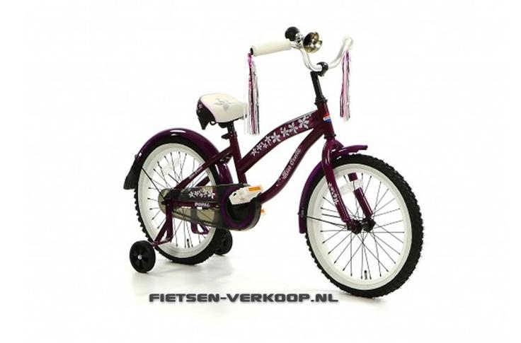 Meisjesfiets Beachcruiser Bela Paars18 Inch | bestel gemakkelijk online op Fietsen-verkoop.nl