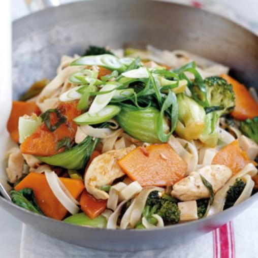 Chicken and rice noodle stir-fry