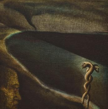 Tony Fomison -  The Temptation of Brother Anthony, 1983,  oil on hessian on board,  655 x 655 mm . Auckland Art Gallery Toi o Tāmaki, Chartwell Gift Collection, 2009