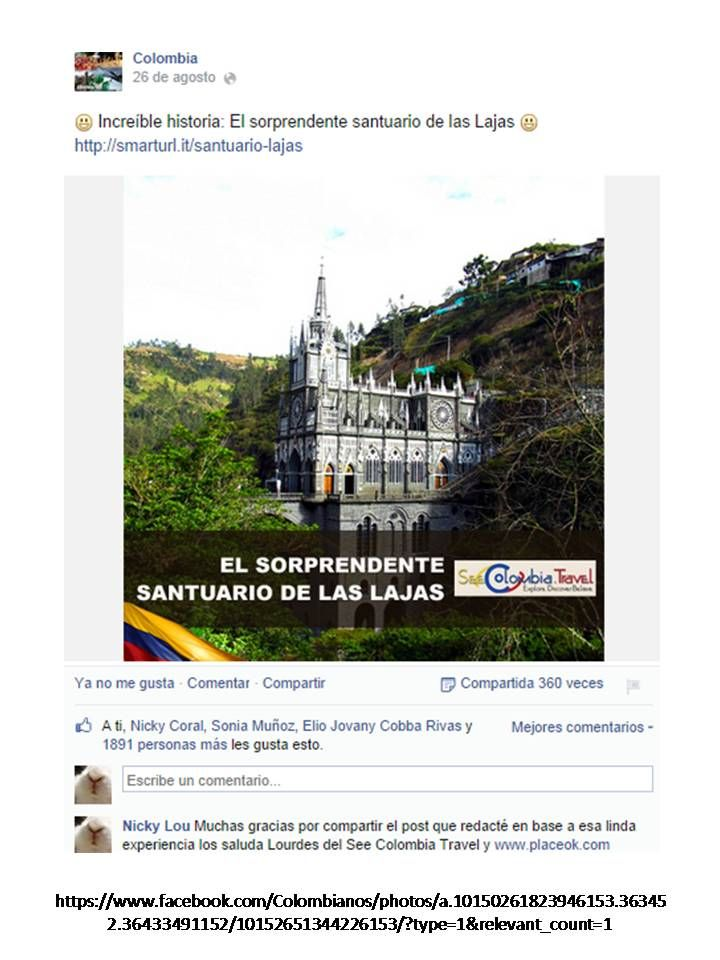 My post about #LasLajas in #Nariño #Colombia was featured in this amazing Colombian fanpage  Thank you! www.placeok.com