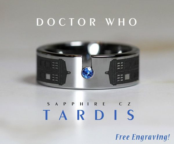 This incredible Doctor Who ring is made of top quality tungsten carbide and comes with free 30 letter engraving. Make someone special's wishes come true as