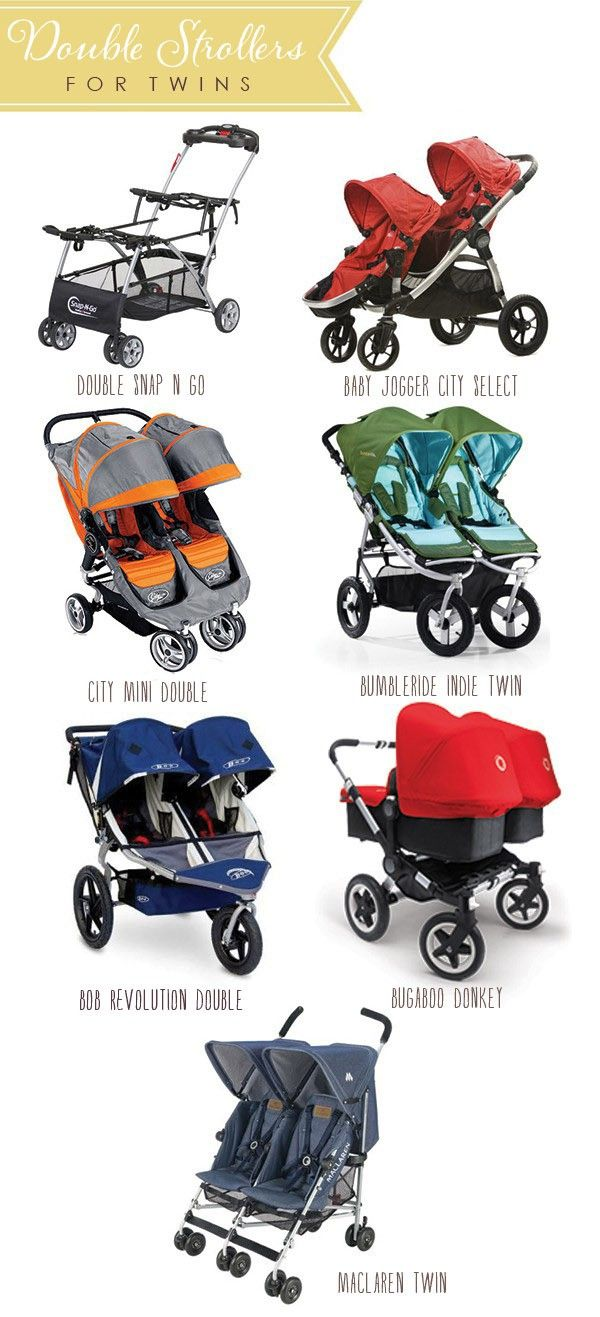 Double-strollers. We went with the Bugaboo Donkey so we could fit them side by side, and because it takes two car seats.