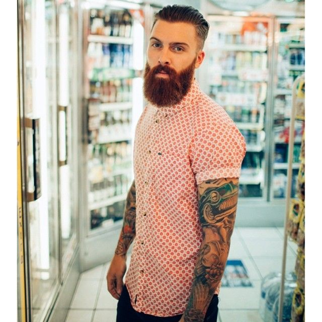 full thick red beard and mustache beards bearded man men mens' style fashion clothes model tattoos tattooed ink inked ginger redhead handsome #beardsforever