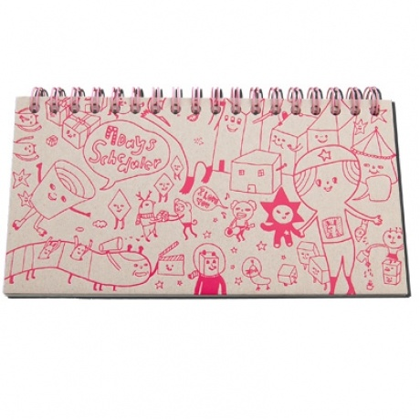 """View 1.  7 Day Planner that's half planner & half sketchpad. Cute border illustrations inspire a little bit of fun and creativity every day!  Spiral Bound with thick recycled chipboard covers. 120 pages. 6.25 x 3.25 x 0.5"""" (16 x 8.5 x 1 cm). $12.00"""