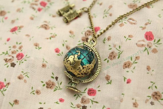 The globe with Telescope necklace vintage style steampunk jewelry antique gift on Etsy, $2.30