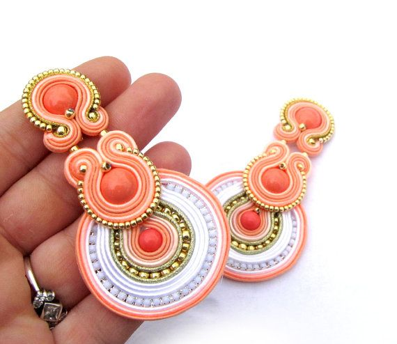 Coral Clip On Earrings Unique Handmade Soutache Earrings Hand Embroidered Soutache Earrings