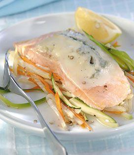 Découpez les légumes en julienne (fins filaments de légumes)   Faites-les cuire avec le vin blanc pendant 15 minutes environ.   Préparez une feuille de papier aluminium par personne pour réaliser les papillotes.   Placez 200 g de légumes sur chaque feuille et disposez les filets de saumon sur les lits de légumes.   Saupoudrez les filets avec les herbes, fermez les feuilles en papillotes et mettez-les au four à 250° C (thermostat 8) pendant 15 minutes.   Préparez la sauc...