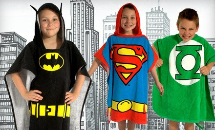 groupon goods   superhero bath wrap -    $19 for a DC Comics Originals Batman, Superman, or Green Lantern bath wrap (a $34 value) with shipping (a $6 value; a $40 total value)  Each style option is available in toddler size (2T–3T) or boys (4–7).Superhero Bath, Hoods Towels, Multiplication Style, Dc Comics, Deals Price, Bath Wraps, Comics Superhero, Groupon Deals, Green Lanterns