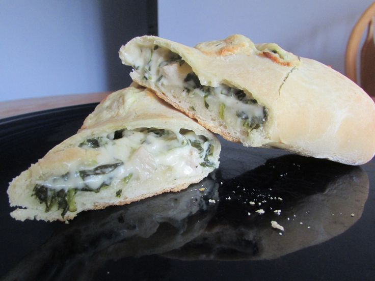 Homemade Hot Pockets With a delicious creamy chicken and spinach filling.