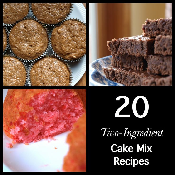 These easy recipes require only a box of cake mix, and a mix-in.  That's it, 2 ingredients that you probably have on hand.  You'll find 20 enticing combinations with instructions and photos.