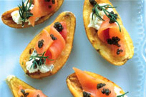 Cumin-Roasted Potatoes with Caviar and Smoked Salmon