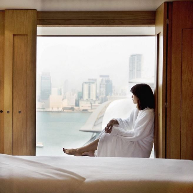 Peaceful mornings at Grand Hyatt Hong Kong with Andrea Chong consist of this Grand view set above the scenic Victoria Harbour, a tranquil retreat in the heart of Hong Kong.