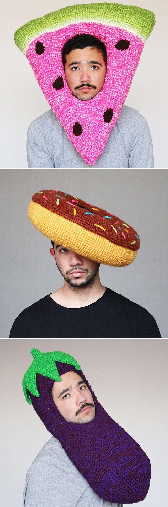 Crochet hats // DIY // crocheted food // costumes // food costumes