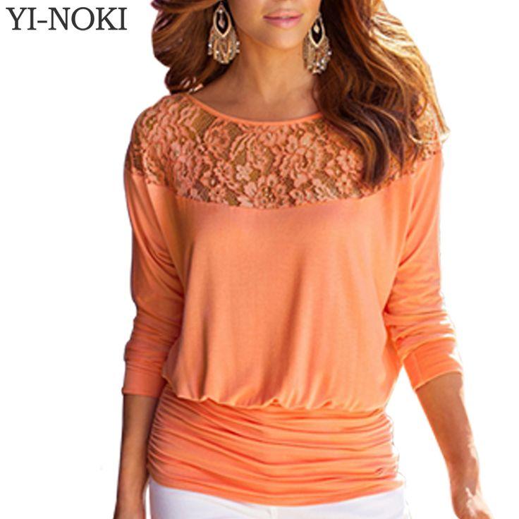 YI-NOKI Sexy Women Blouse Plus Size Women Clothing Lace Blouse Fashion Casual Long Sleeve Folding White Black Yellow Blouse Tops