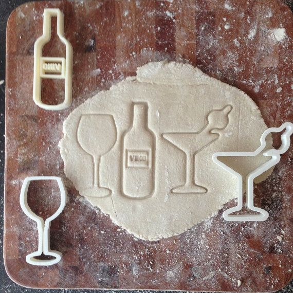 Cocktail party cookie cutter gift set - Wine Bottle, Wine Glass, & Martini.