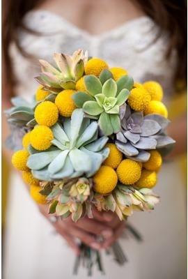 YellowBridal Bouquets, Billy Ball, Wedding Bouquets, Succulents Wedding, Yellow Bouquets, Wedding Theme, Wedding Flower, Succulent Bouquets