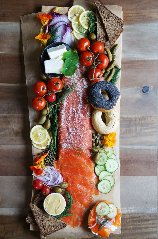 """Gorgeous platter with homemade lox from Honestly Yum: <a rel=""""noreferrer nofollow"""" target=""""_blank"""" href=""""http://honestlyyum.com/9875/homemade-lox"""">http://honestlyyum.com/9875/homemade-lox</a>/"""