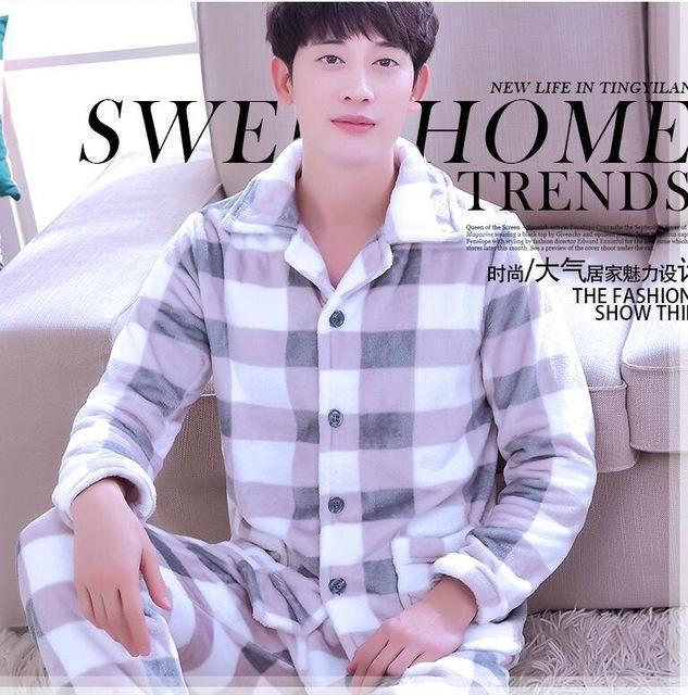 Man Pijama Winter Mens Pajama Sets O Neck Long Sleeve Nightwear