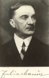 Iuliu Maniu (Romanian pronunciation: [ˈjulju maˈni.u]; January 8, 1873 – February 5, 1953) was an Austro-Hungarian-born Romanian politician. A leader of the National Party of Transylvania and Banat before and after World War I, he served as Prime Minister of Romania for three terms during 1928–1933, and, with Ion Mihalache, co-founded the National Peasants' Party.