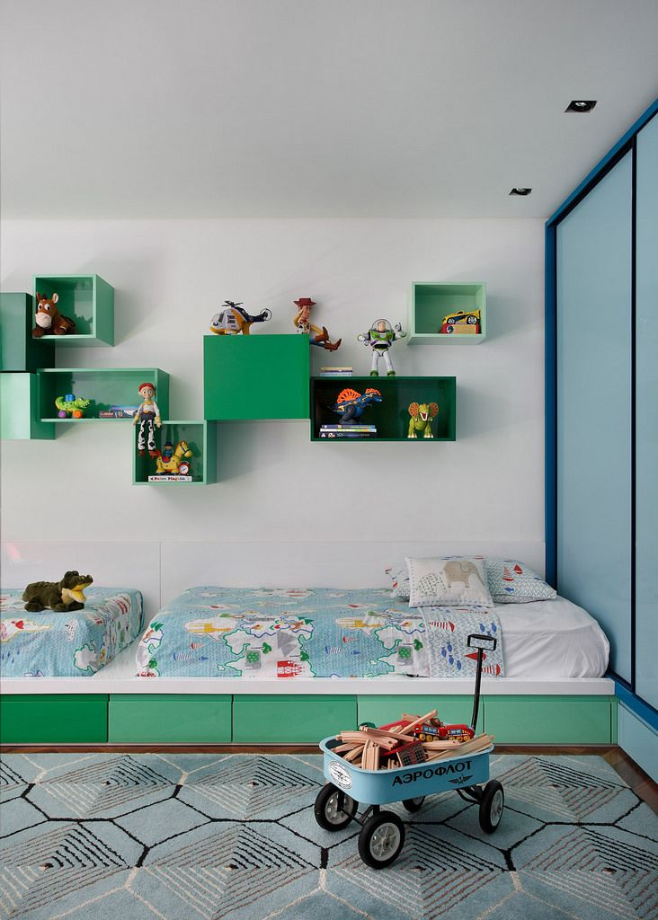 I like it because it is so simple and yet so much storage space and colour. I believe it is all custom made but you can find similar wall boxes from bloomingville or ferm living. Read more: http://www.pauletpaula.com/2014/07/kids-room-ideas.html#ixzz3DbjKFyUG