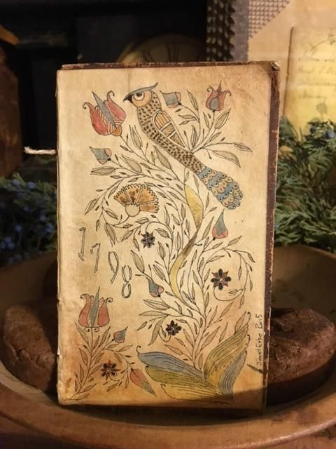 Book Cover Watercolor Artist : Fraktur watercolor on a book cover furniture and