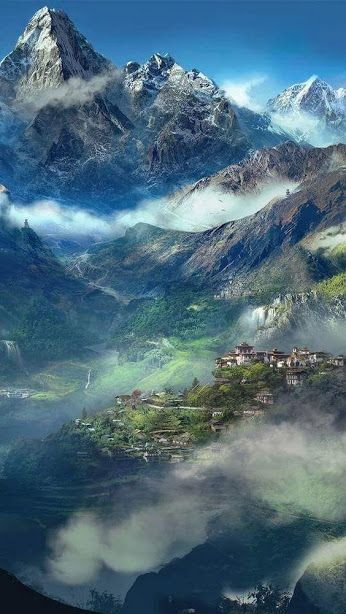Magnificent view of the Himalayas or Himalaya which is a mountain range in the Indian subcontinent, which separates the Indo-Gangetic Plain from the Tibetan Plateau. Edited from Wikipedia.                                                                                                                                                                                 More