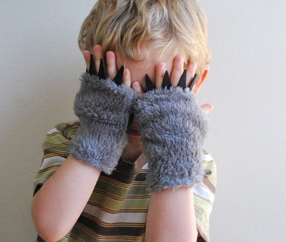 Kid's Fingerless Gloves   Grey wolf with Black by babycricket, $32.00