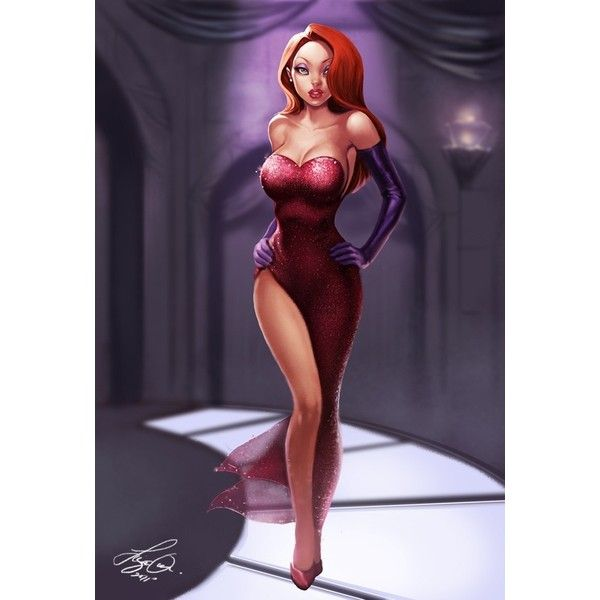 Jessica Rabbit 15 illustrations in tribute to the sexiest women in red ❤ liked on Polyvore featuring characters and disney