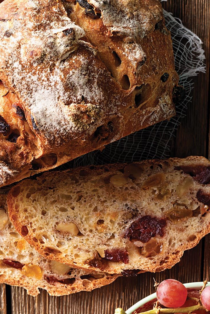 No-Knead Cranberry,Raisin,Walnut Bread Recipe
