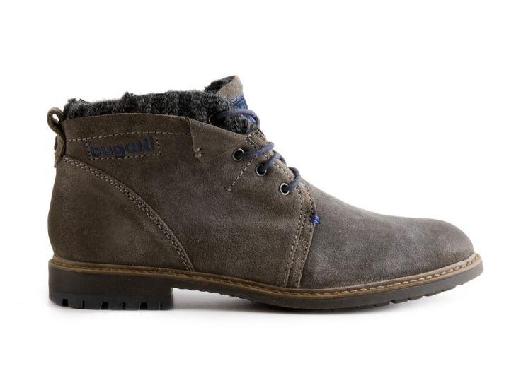 Bugatti - Kožené zimní pánské boty, kotníkové Roy F3457-3 / šedá | obujsi.cz - dámská, pánská, dětská obuv a boty online, kabelky, módní doplňky