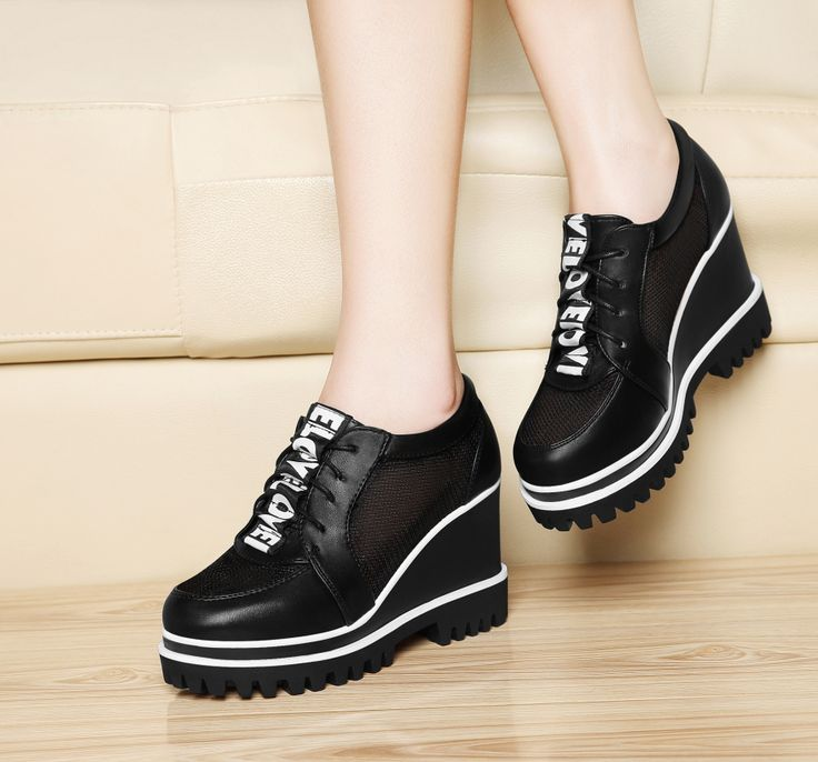 Find More Women's Casual Shoes Information about 2016 New Women Height Increasing Casual Shoes White Black Lace Up High Shoe Women Thick Bottom Free Shipping Breathable Platorms,High Quality shoes with roller skates,China shoe bench Suppliers, Cheap shoe mitt from YiQi Trading Co. ,Ltd. on Aliexpress.com