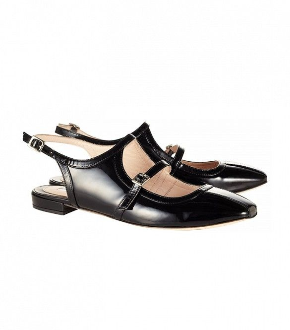 Carven Black Patent Leather Shoes // Black pointy toed flats
