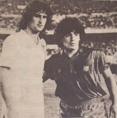 Diego Armando Maradona, born 30 October 1960, Argentine attacking midfielder or second striker, FC Barcelona (1982-1984) and Mario Alberto Kempes, born 15 July 1954, Argentine stricker, Valencia CF (1977-1981 & 1982-1984)